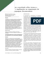 Diferenças Conceituais Sobre Termos e Definições e Implicações Na Organização Da Linguagem Documentária