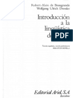 De Beaugrande Robert Alain Y Ulrich Dress Wolfgang - Introduccion A La Linguistica Del Texto.pdf