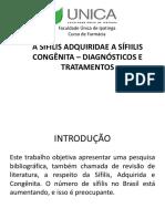 A Sífilis Adquiridae a Sífiilis Congênita