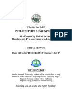 City of Watertown July 2019 holiday schedule