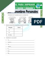 Ficha Que Son Los Pronombres Personales Para Tercero de Primaria