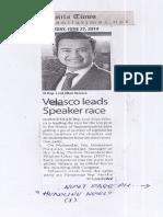 Manila Times, June 27, 2019, Velasco leads Speaker race.pdf