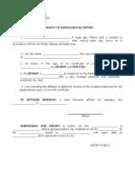 Affidavit of Supplemental Report (Omitted Gender)
