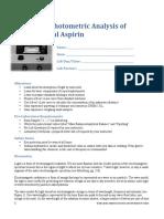 Exp 1--Spectrophometric Analysis of Aspirin