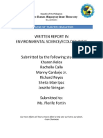 Written report sample on ecology