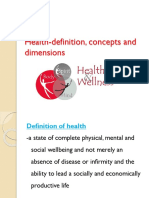 Health Definition Concepts and Dimensions