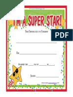 Free Printable Super Star Award Certificate
