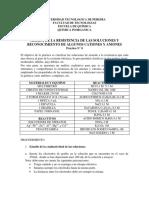 P-8 Medida de La Resistencia de Las Soluciones y Reconocimiento de Algunos Cationes y Aniones