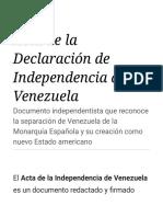 Acta de La Declaración de Independencia de Venezuela - Wikipedia, La Enciclopedia Libre