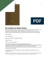 Walser Robert - Der Gehuelfe