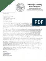 Saratoga Co. Clerk Hayner Letter to the President 6.24.19