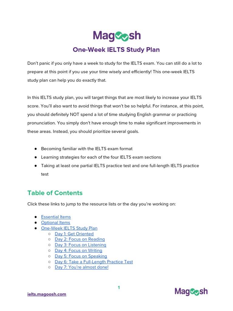 1+Week+IELTS+Study+Schedule+(vB) pdf | International English
