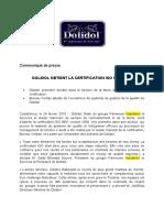 Dolidol Obtient La Certification Iso 90012008