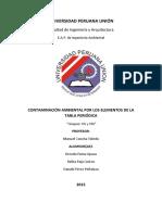 Contaminación ambiental por elementos de la tabla periodica