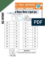 Ficha de Signos de Mayor y Menor Para Segundo de Primaria