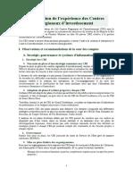 Evaluation de Lexpérience Des CRI
