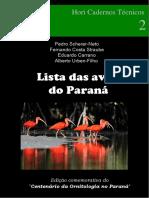 Livro -Lista Das Aves Do Paraná