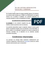 Afecciones Del Sistema Reproductor Masculino y Femenino