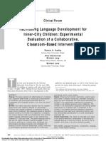 Facilitating Language Development for Inner City Children