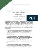 Conclusiones XVI Congreso de Sindrome de Down Avesid