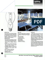 Philips 400 Watt Universal Burning Metal Halide Lamps Bulletin 3-88