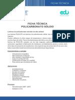Ficha Técnica de Policarbonato Solido