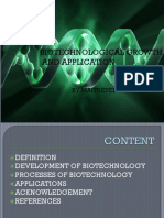 Biotechnological Growth and Application