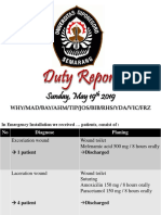 Duty Report, Sunday May 19th 2019