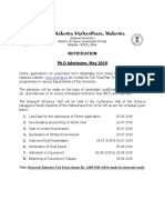 Ph.D Notification 2019