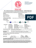 Nexxt Solutions Etl Verified Certificate for Cat6a 3 Connector Channel