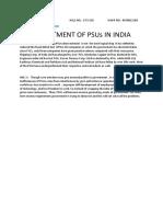ACM Disinvestment of PSUs in India
