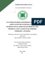 DETERMINANTES EN LA  AMPUTACION DE PACIENTES CON PIE  DIABETICO EN EL SERVICIO DE MEDICINA DEL  HOSPITAL LUIS N. SAENZ