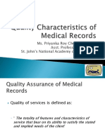 Quality Charachteristics of Medical Records