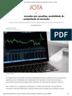 CVM Condena Acusados Por Spoofing, Modalidade de Manipulação de Mercado - JOTA Info