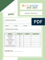 Examen Trimestral Cuarto Grado 2018-2019