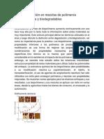 Compatibilización en Mezclas de Polímeros Biodegradables y Biodegradables