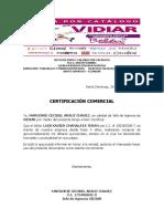 Certificacion Comercial Chanalata