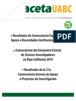 Edicion Especial- Resultados de Convocatoria Especial de Apoyo a Necesidades Institucionales 2019-Convocatoria 6to Encuentro Estatal de Jóvenes Investigadores en Baja California 2019-Resultados de la 21a. Convocatoria Interna de Apoyo a Proyectos de Investigación-Gaceta 420
