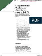 Compatibilidad de Windows Con Discos Duros Mayores de 2 TB