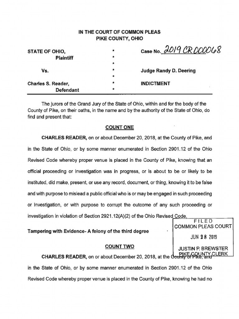 Indictment of Pike County Sheriff Charles Reader