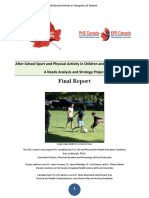 After School Sport and Physical Activity in Children and Youth of Ontario