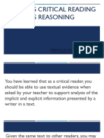 Explains Critical Reading as Reasoning