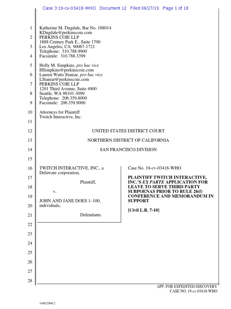 Twitch v  Does Ex Parte Filing   Discovery (Law)   Complaint