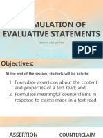 Formulation of Evaluative Statements