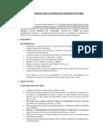 Terminos de Referencia Para La Contratacion de Residente de Obra