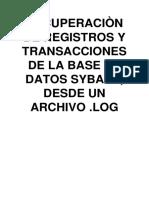 Recuperación de Registros y Transacciones de La Base de Datos Sybase