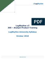 Logrhythm 305 Analyst Product Training Syllabus