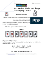 mean median mode with playing cards