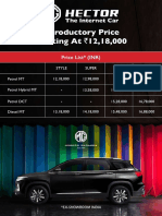 MG Hector PriceList