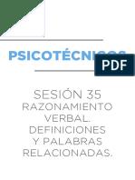PSICOTÉCNICOS - Razonamiento Verbal. Definiciones y Palabras Relacionadas (Sesión 35)